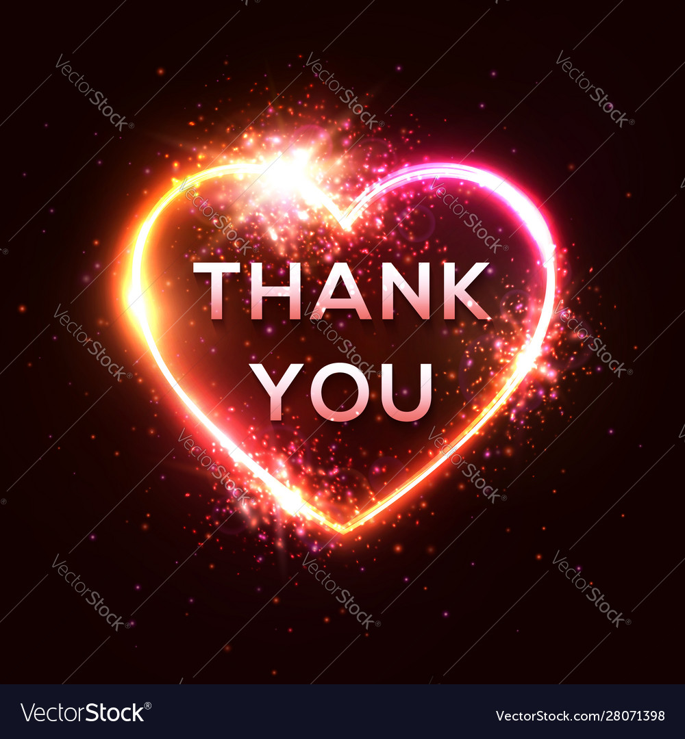 Thank you card 3d realistic isolated neon sign