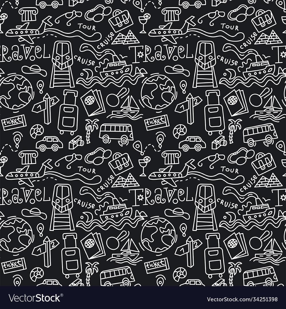 Travel doodles pattern
