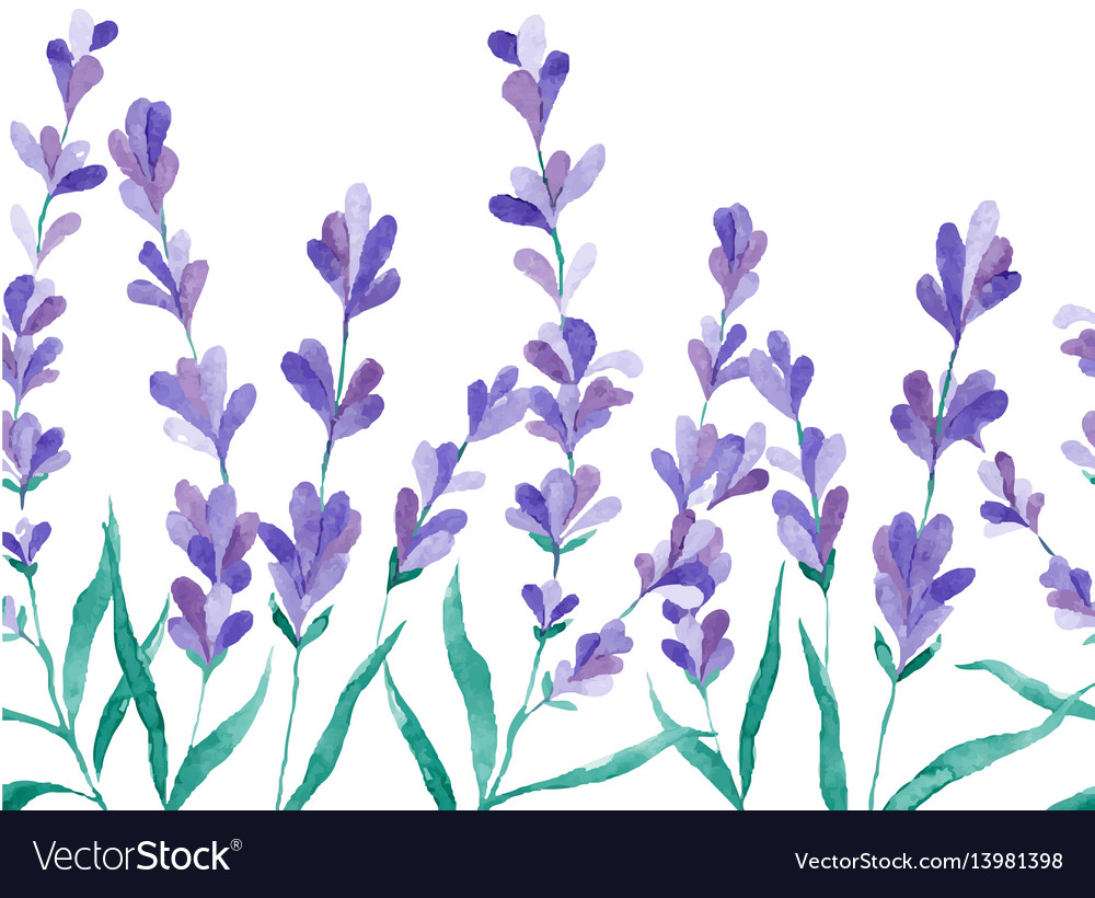 Watercolor border with lavender hand