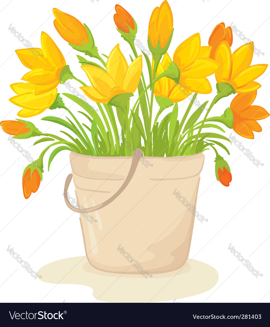 A bouquet of yellow flowers Royalty Free Vector Image