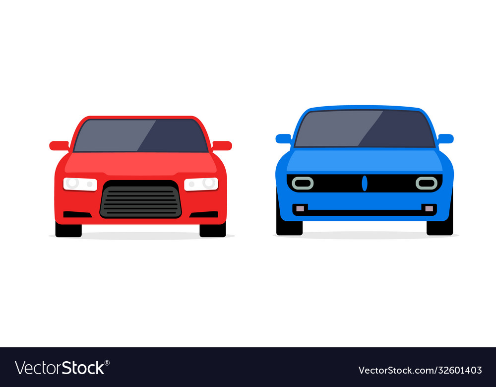 Car front view flat icon car parking