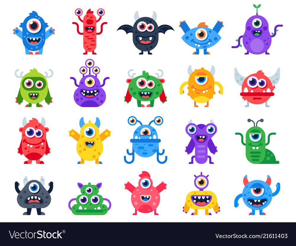 Cartoon monster cute happy monsters halloween