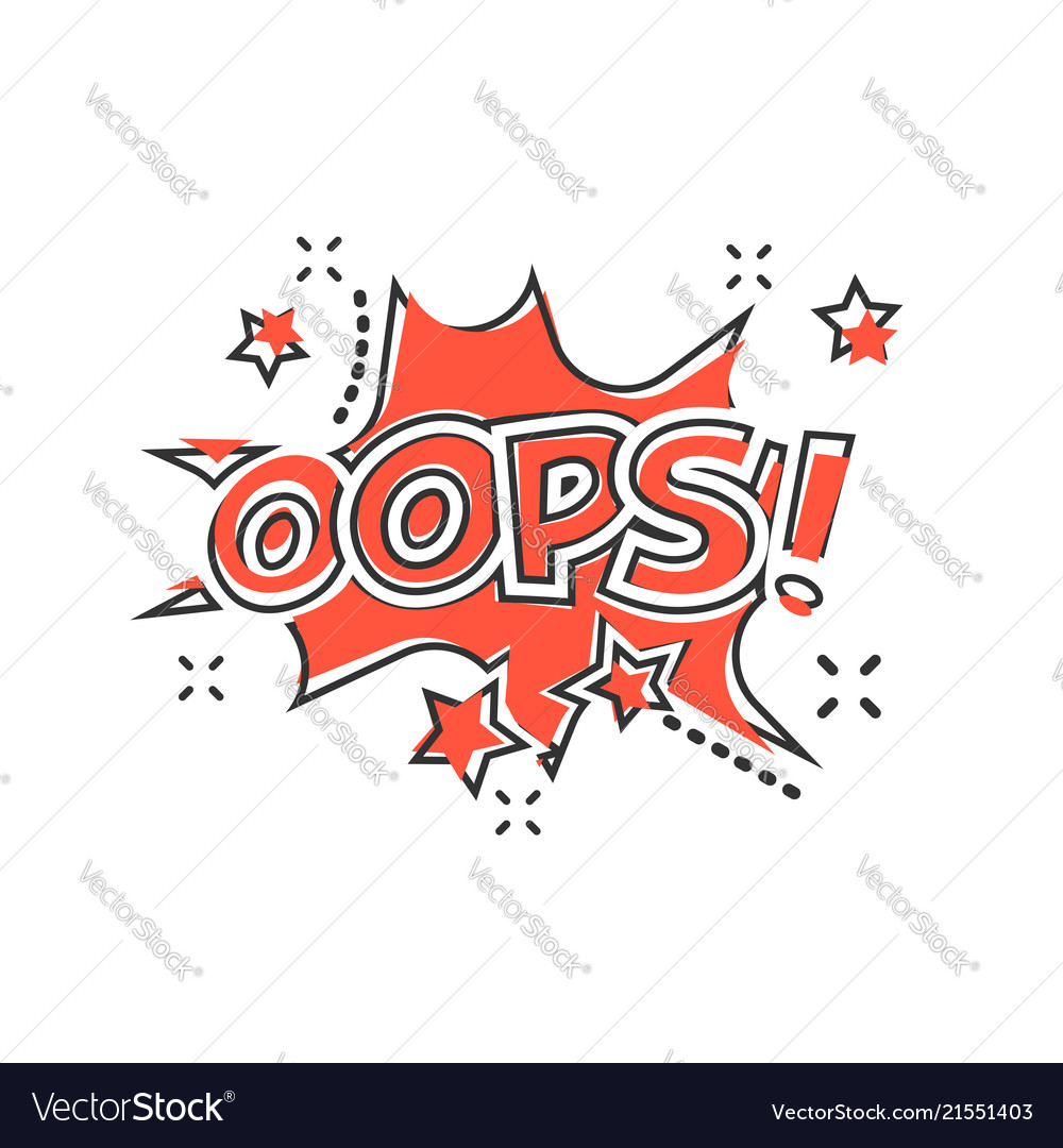 Cartoon oops comic sound effects icon in comic