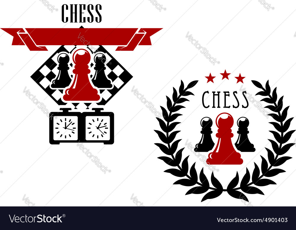 Chess Game Emblems And Symbols Royalty Free Vector Image
