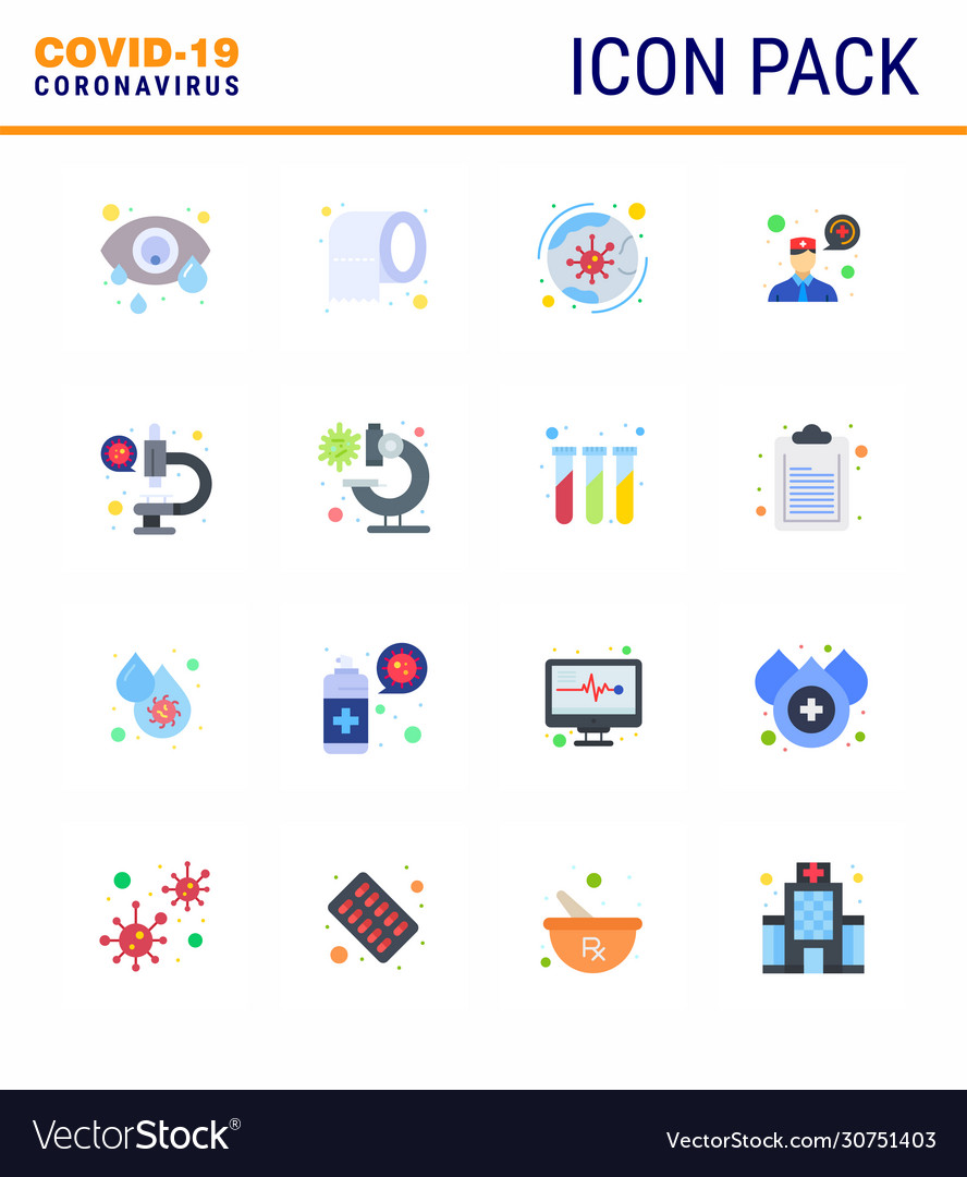 Coronavirus awareness icons 16 flat color icon