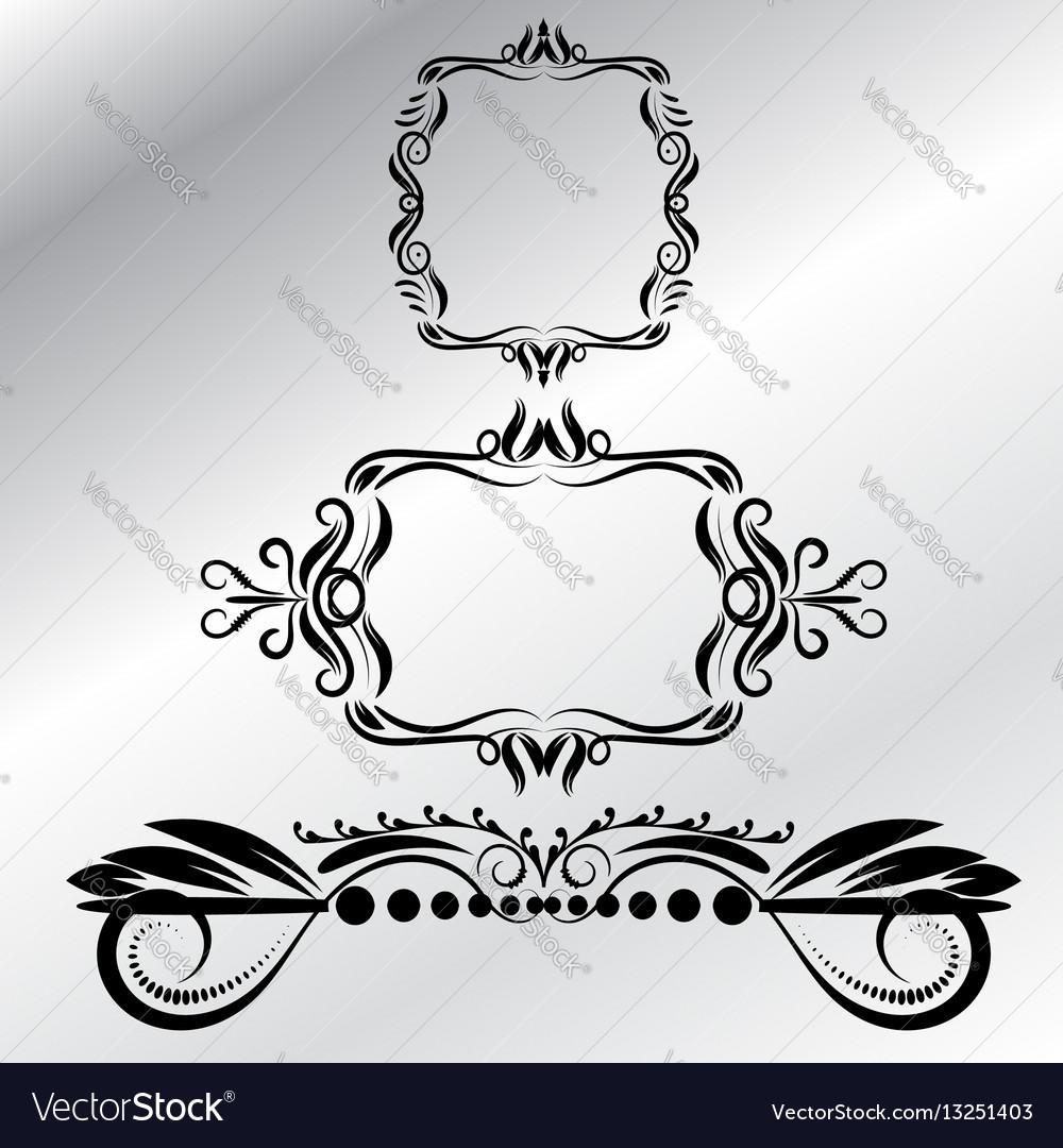 Decorative frames retro design element gray