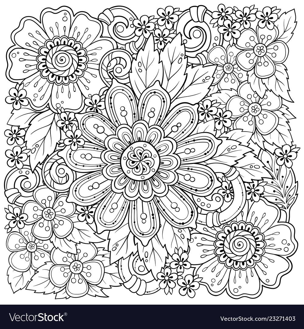 Ethnic floral zentangle doodle background pattern