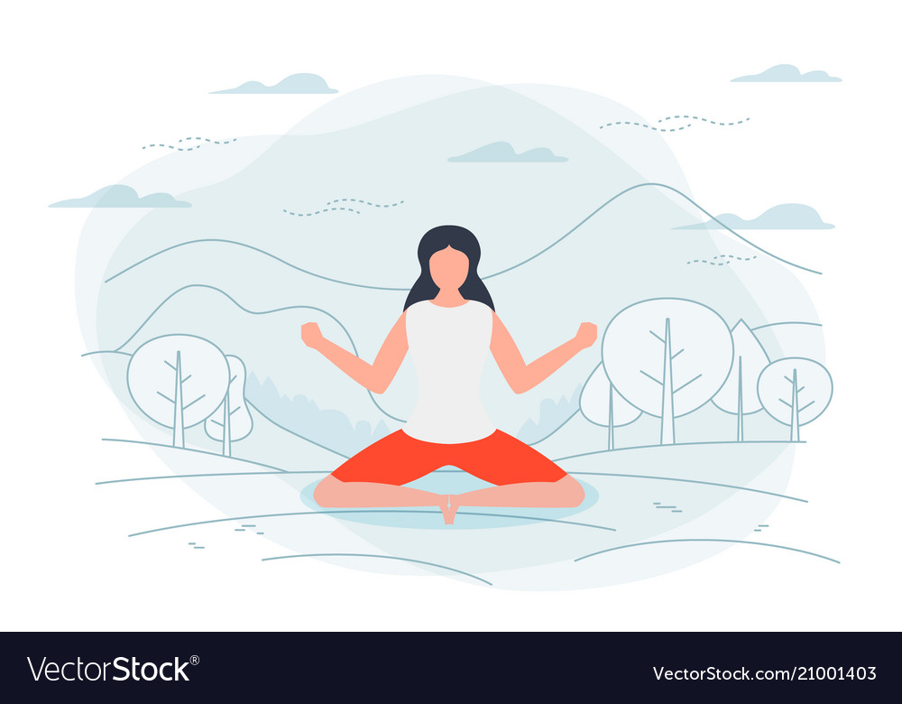 Girl in yoga lotus pose