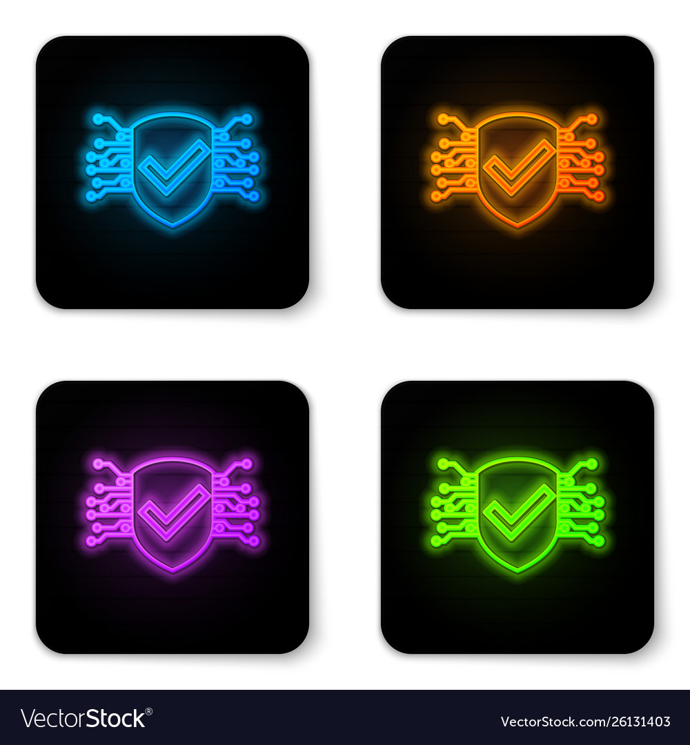 Glowing neon cyber security icon isolated on