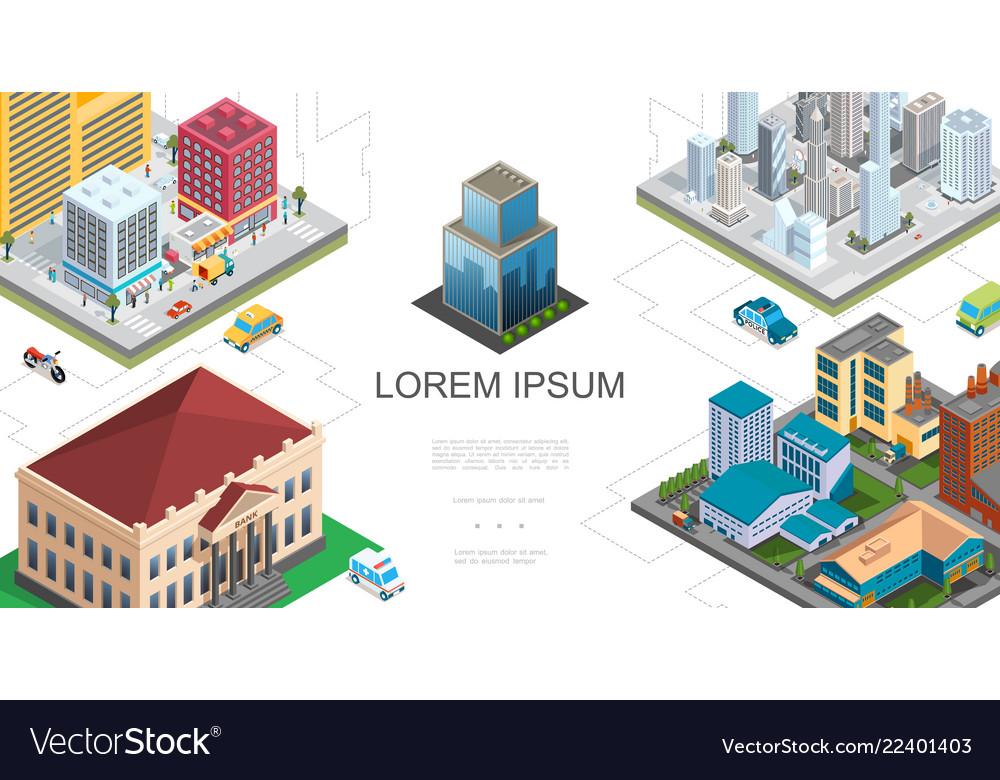 Isometric city landscape composition