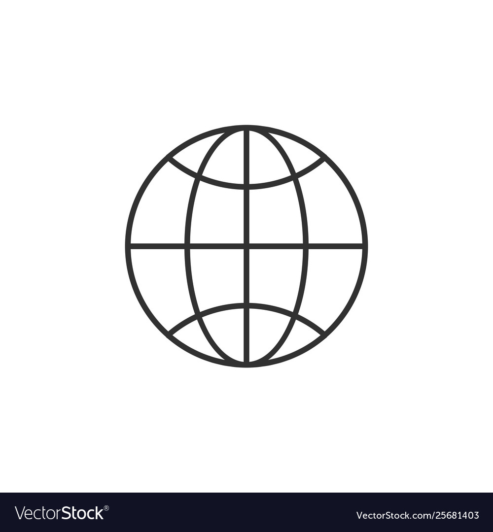 Linear globe trendy flat world globe outline ui