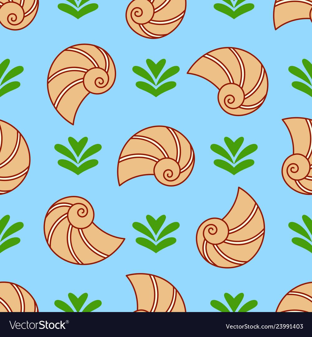 Seashell and seaweed seamless pattern sea