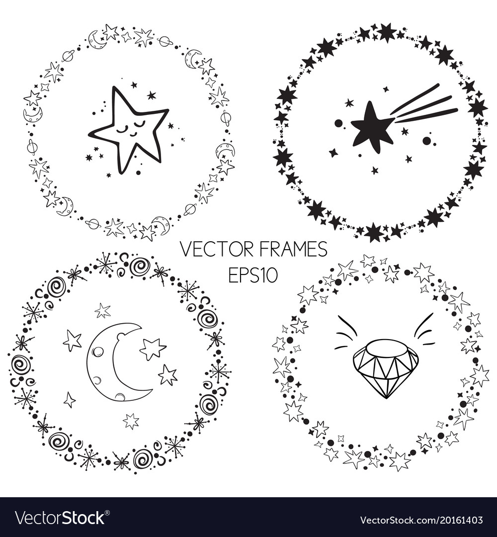 Set of graphic circle frames wreaths for