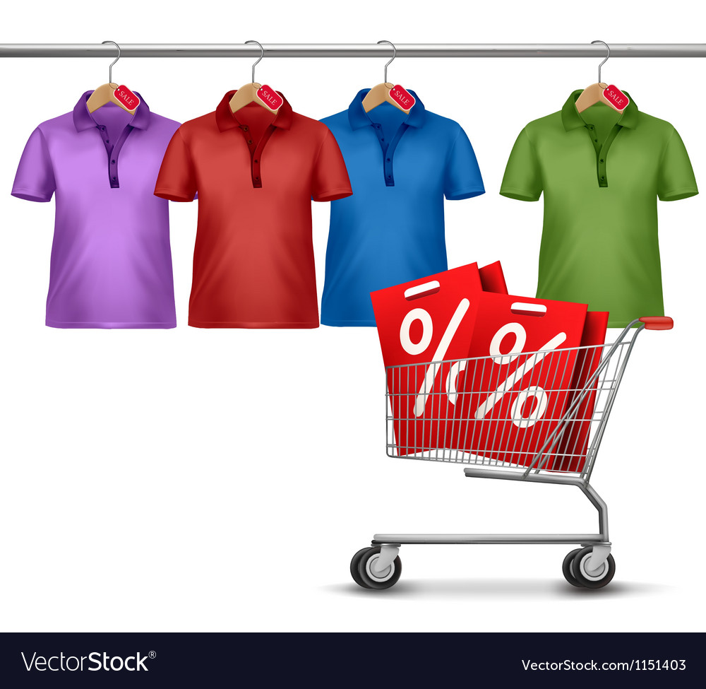 Shirts hanging on a bar and a shopping cart vector image
