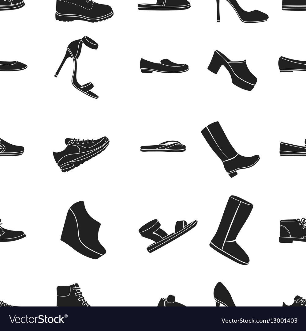 Shoes pattern icons in black style Big collection