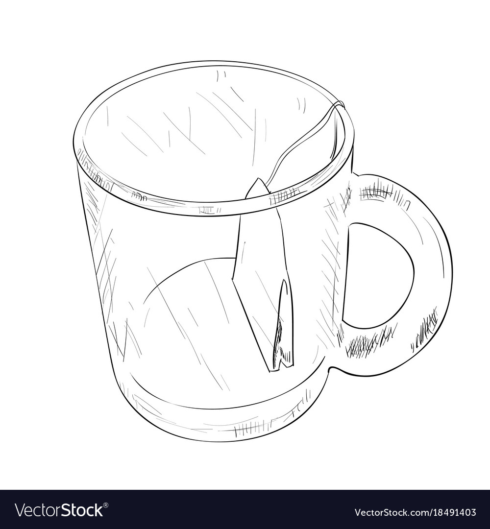 Sketch Cup With Tea Bag Royalty Free Vector Image