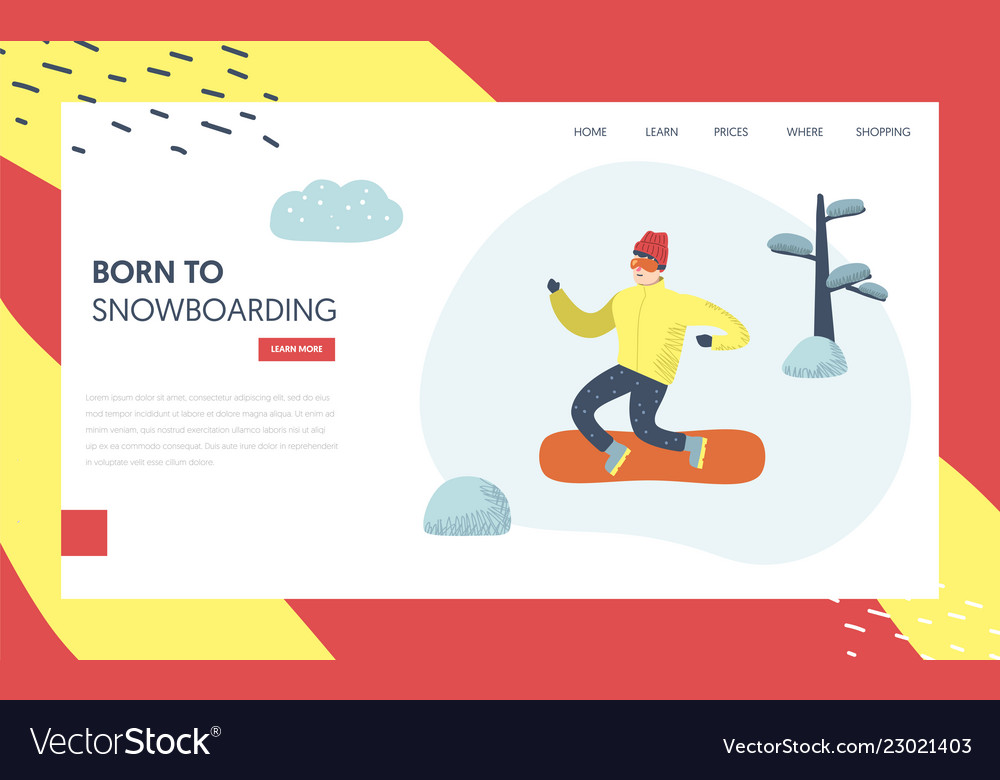 Snowboard winter holidays landing page template