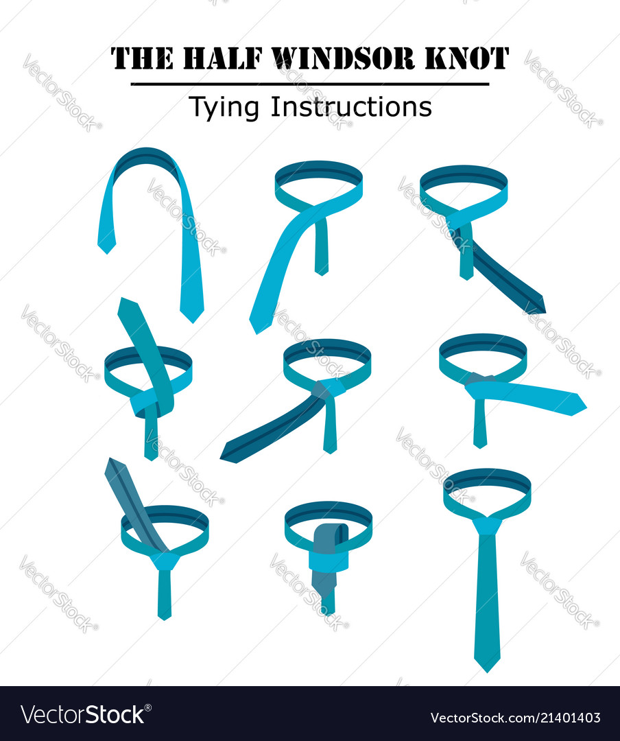 The Half Windsor Tie Knot Instructions Isolated On