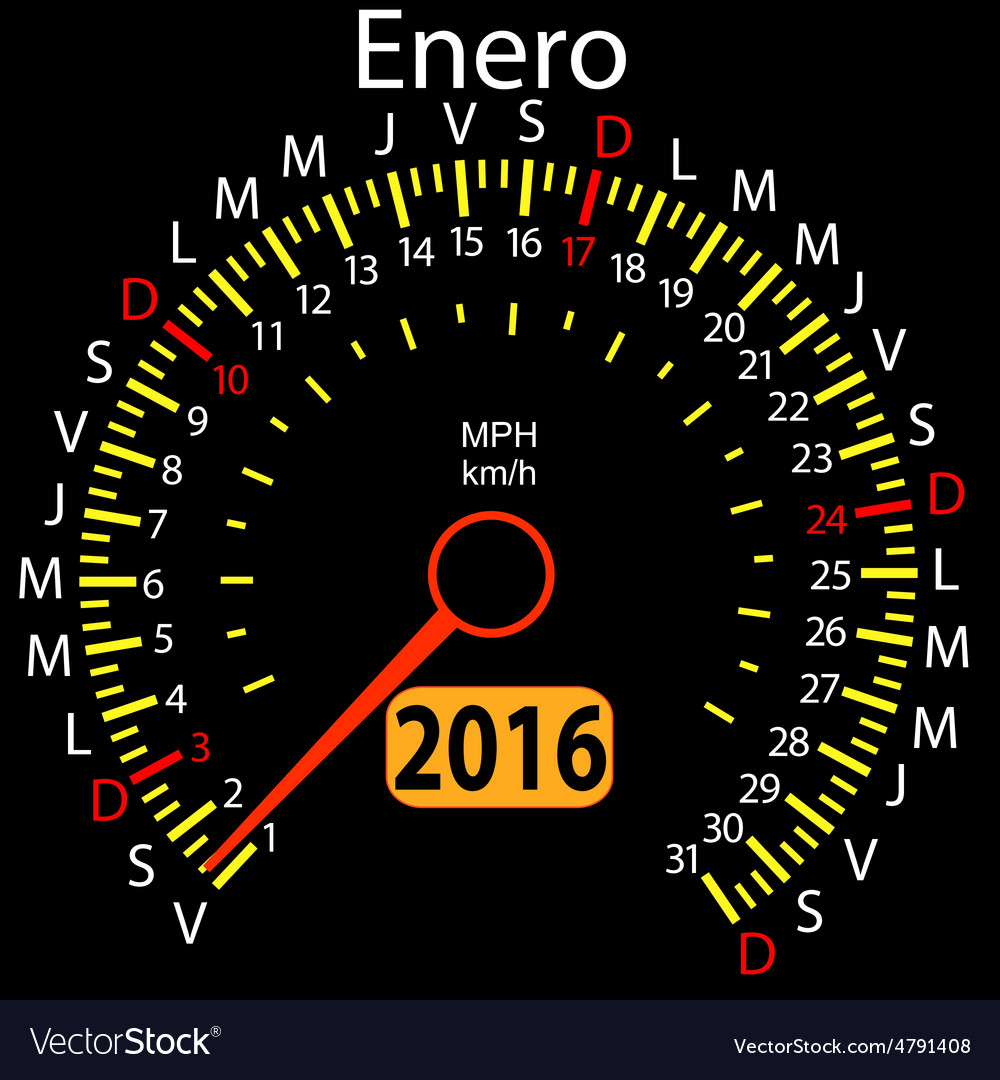 2016 year calendar speedometer car in Spanish