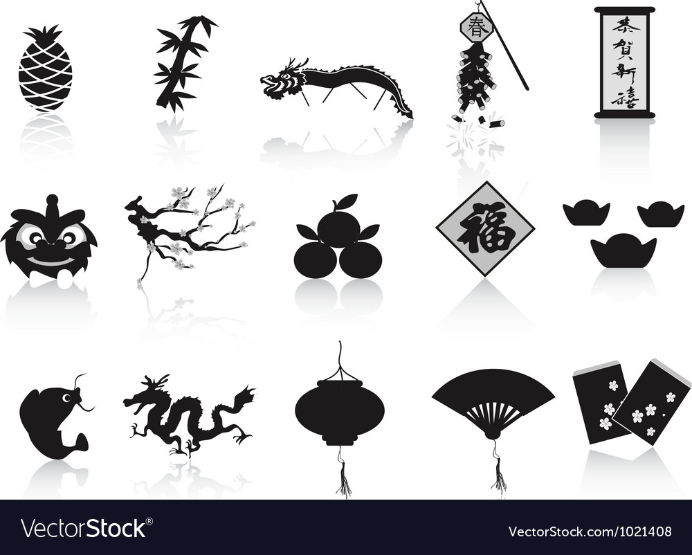 Black chinese new year icon vector image