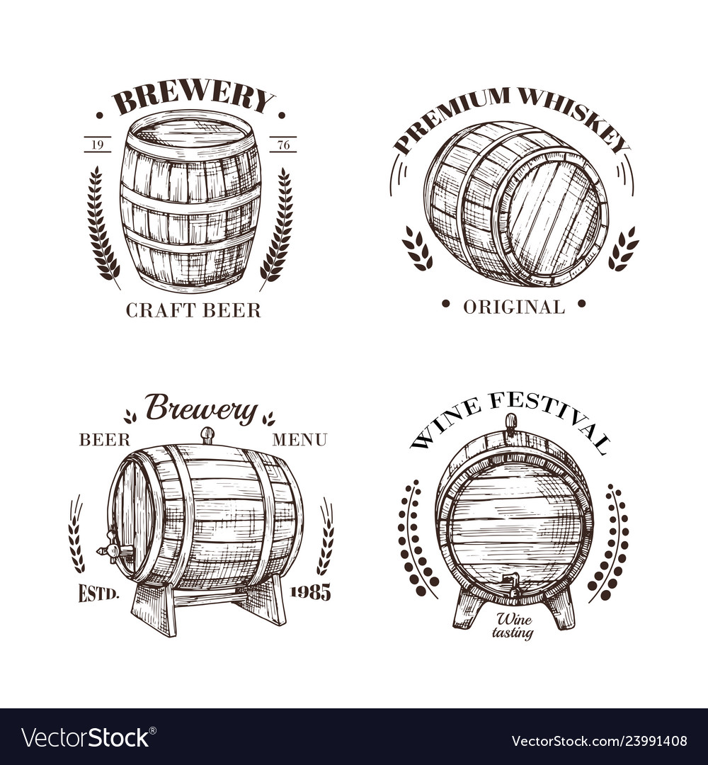 Brewery emblem barrel of beer and wine whiskey