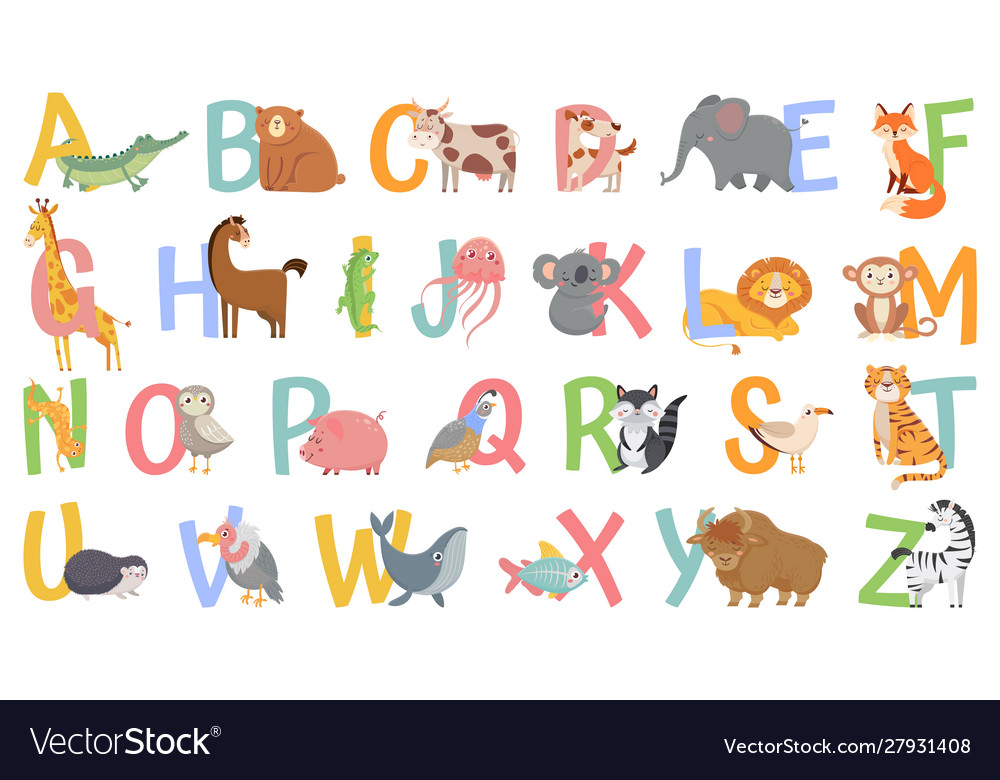 Cartoon animals alphabet for kids learn letters