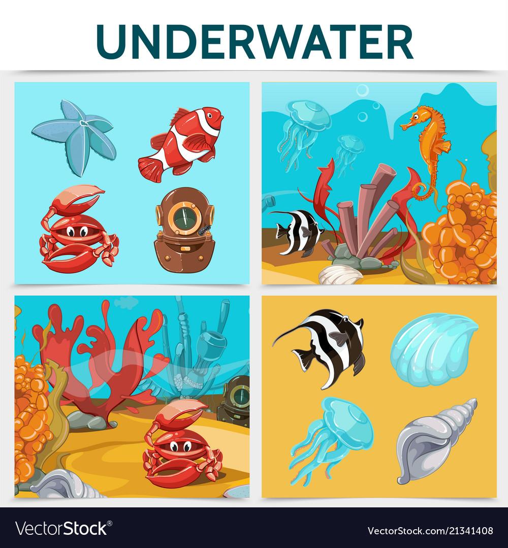 Cartoon underwater life square concept