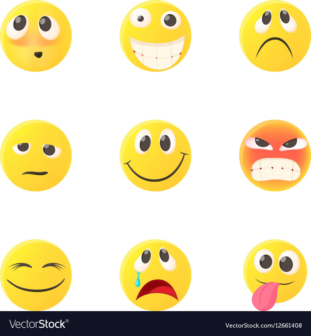 Emoticons for chatting icons set cartoon style vector image