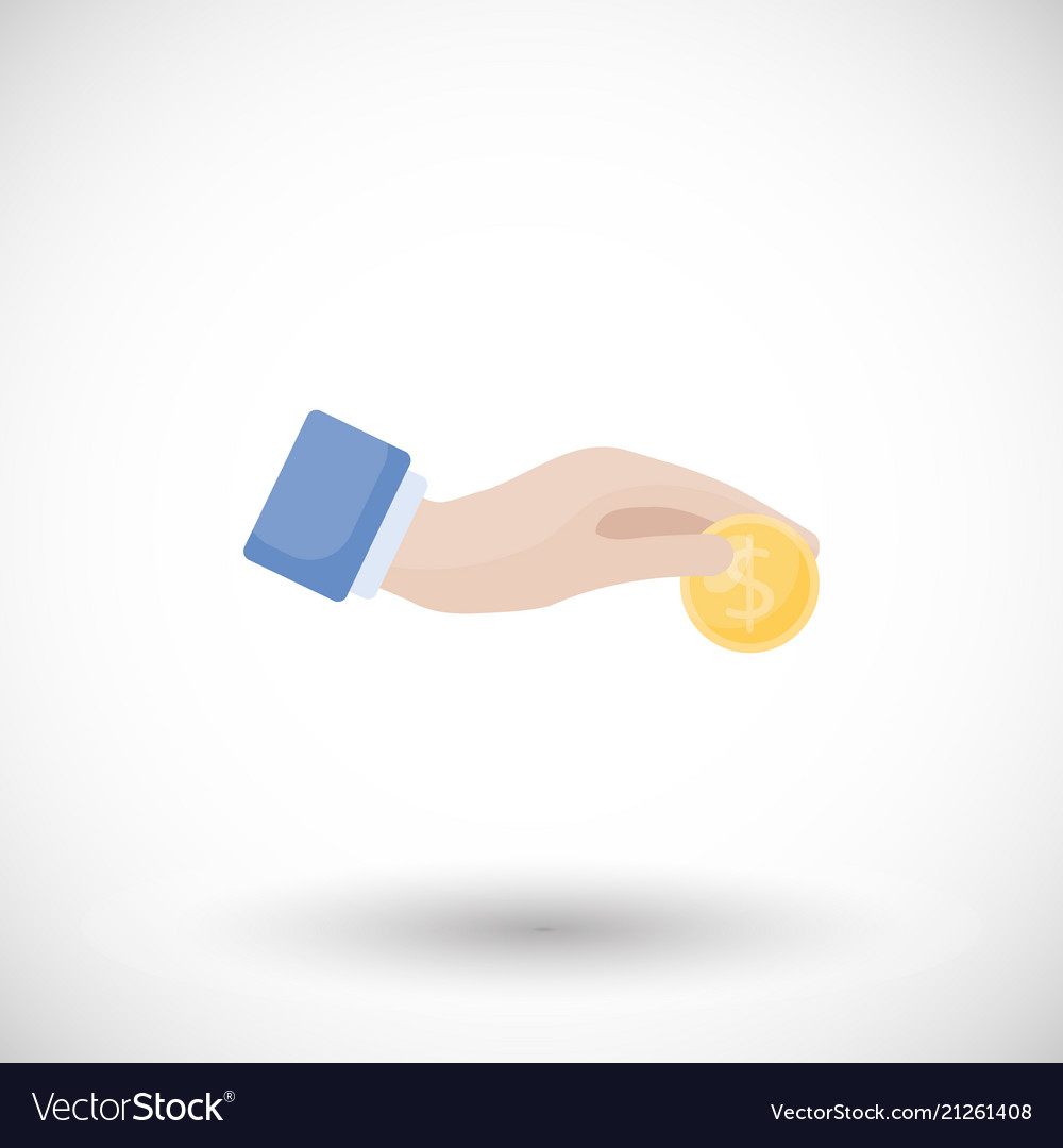 Hand with coin donation charity flat icon