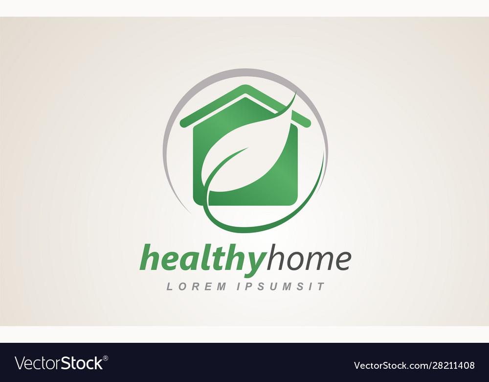Healthy home house eco friendly logo design
