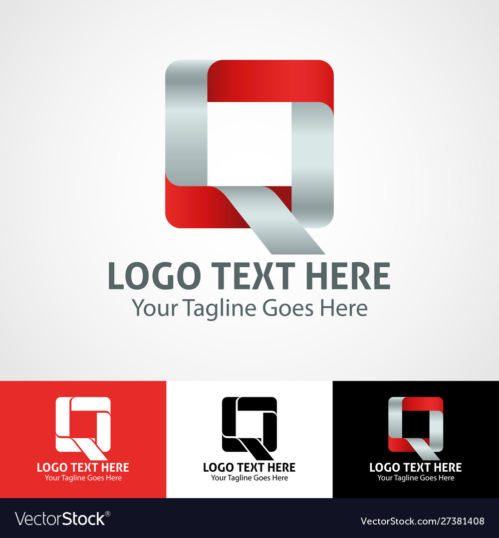 Hi-tech trendy initial icon logo q