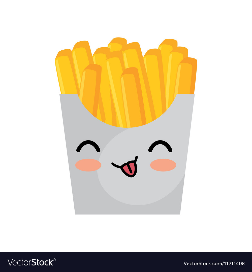 Kawaii cute french fries box icon