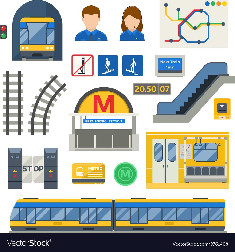 Metro underground symbols set