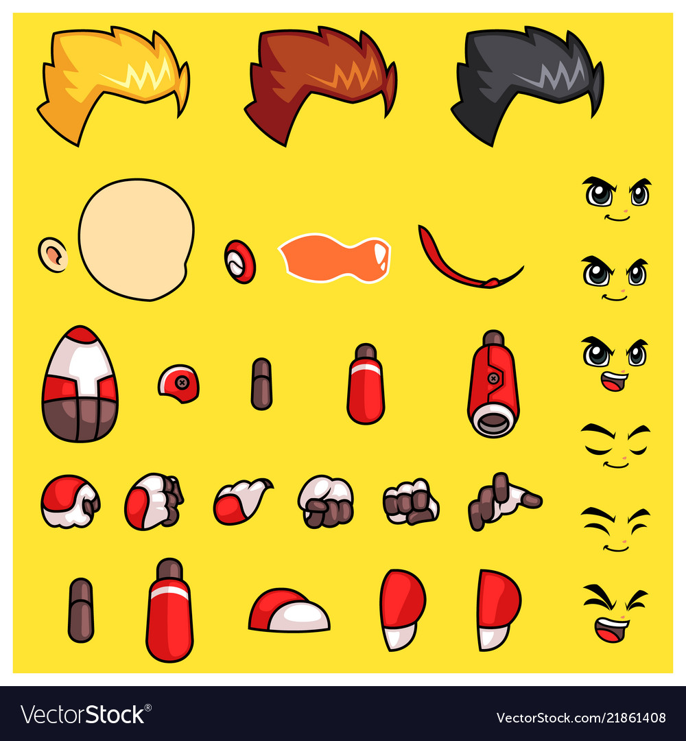 Red robot body parts game sprites