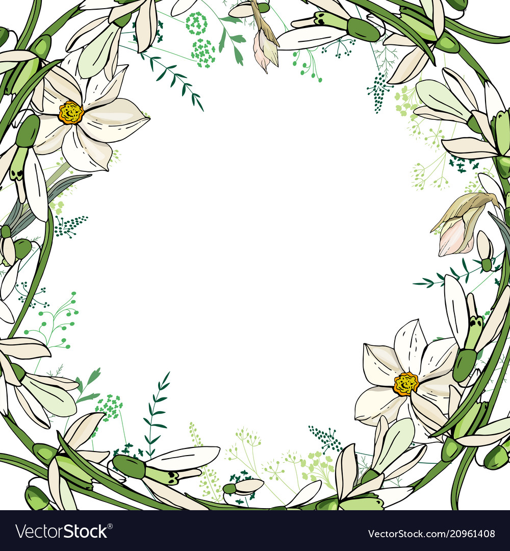 Round Garland With Spring Flowers Daffodils And Vector Image