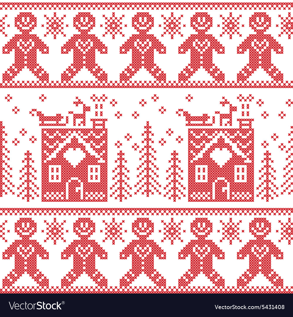 scandinavian nordic christmas pattern with ginger vector image - Nordic Christmas
