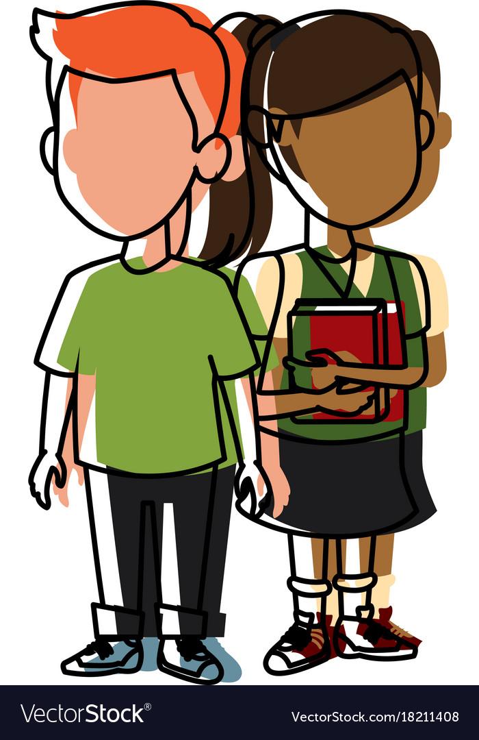 School Kids Friends Cartoon Royalty Free Vector Image