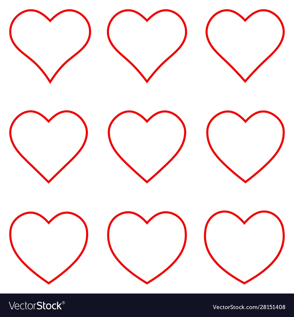 Set red heart shape outline stroke icon set