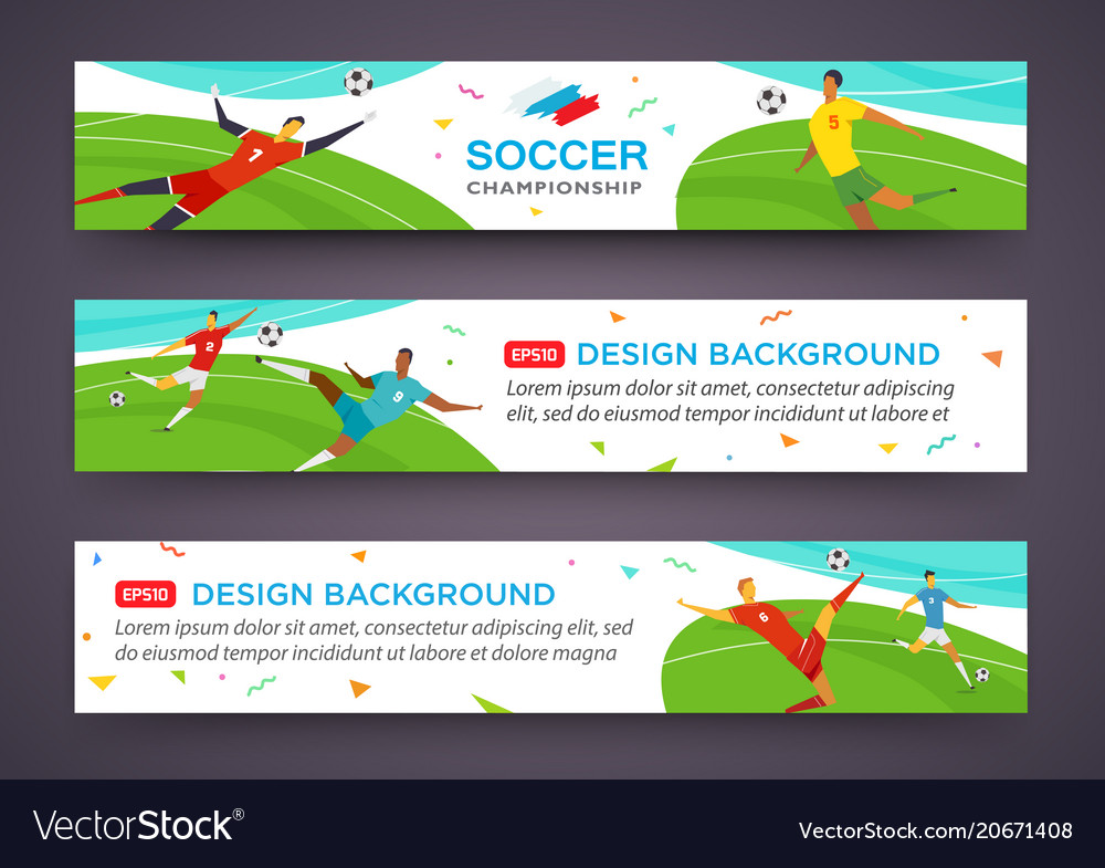 Soccer players banner set championship fool