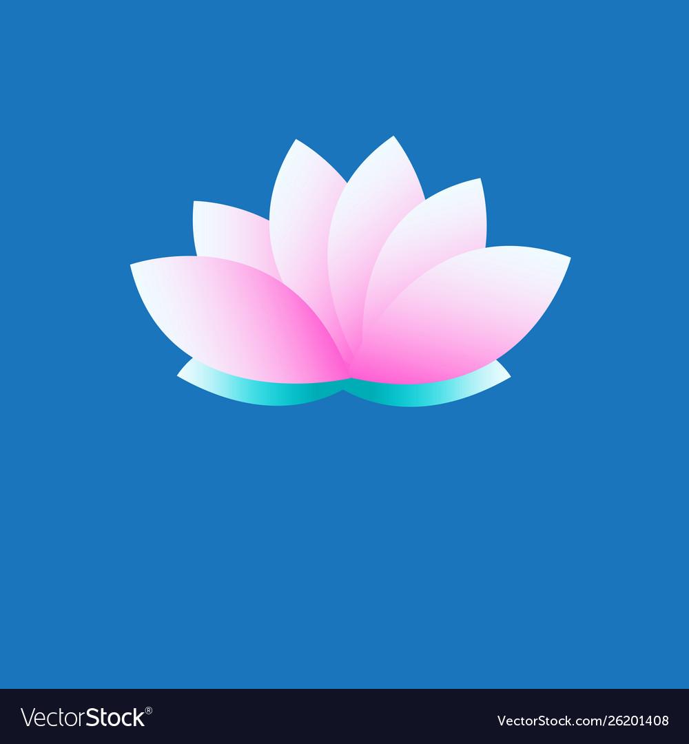 Symbol pink lotus on blue background