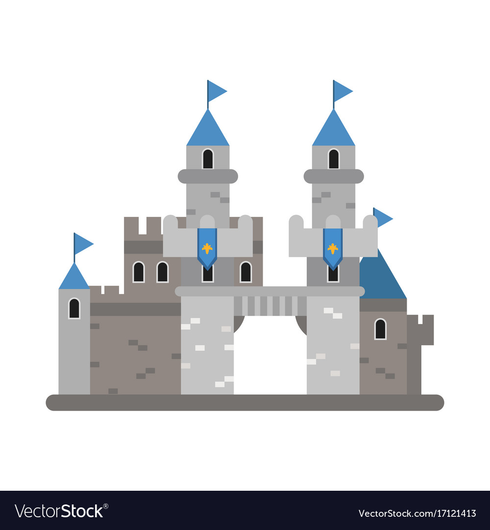 Ancient Castle With Blue Flags Medieval Royalty Free Vector