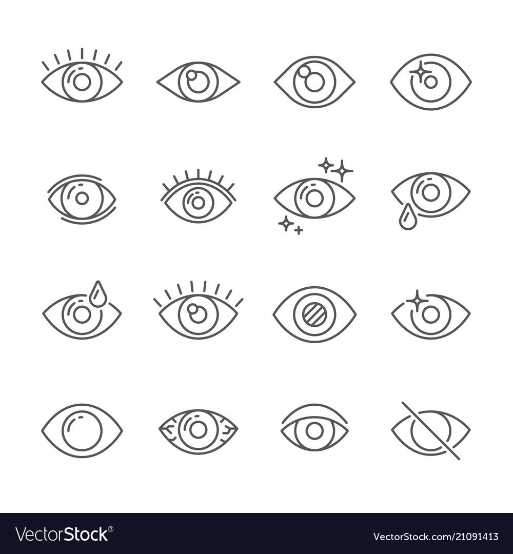 Black pictogram of eyesight or looking eye line