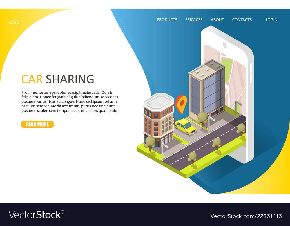 Car sharing service landing page website