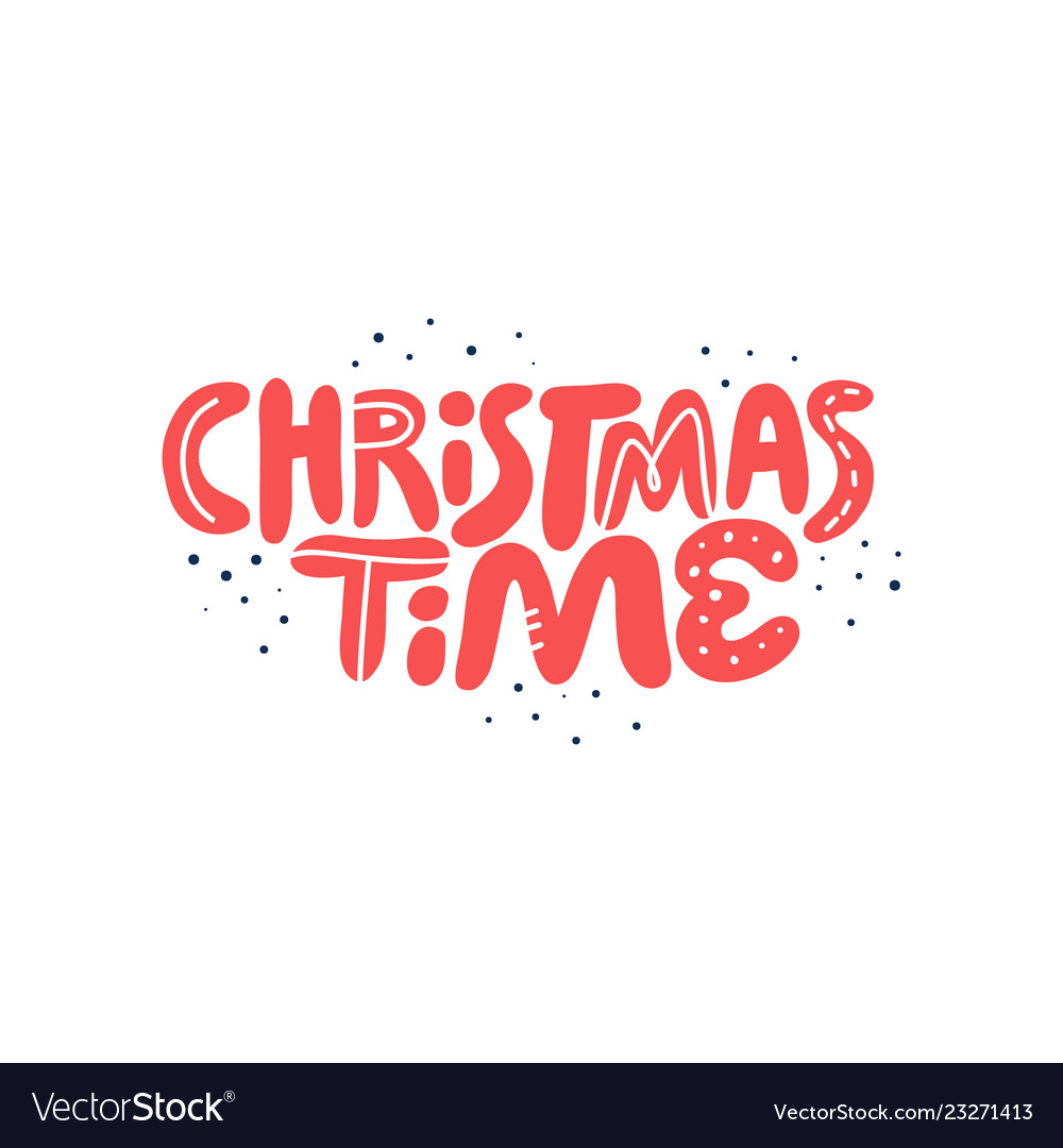Christmas time hand drawn red lettering