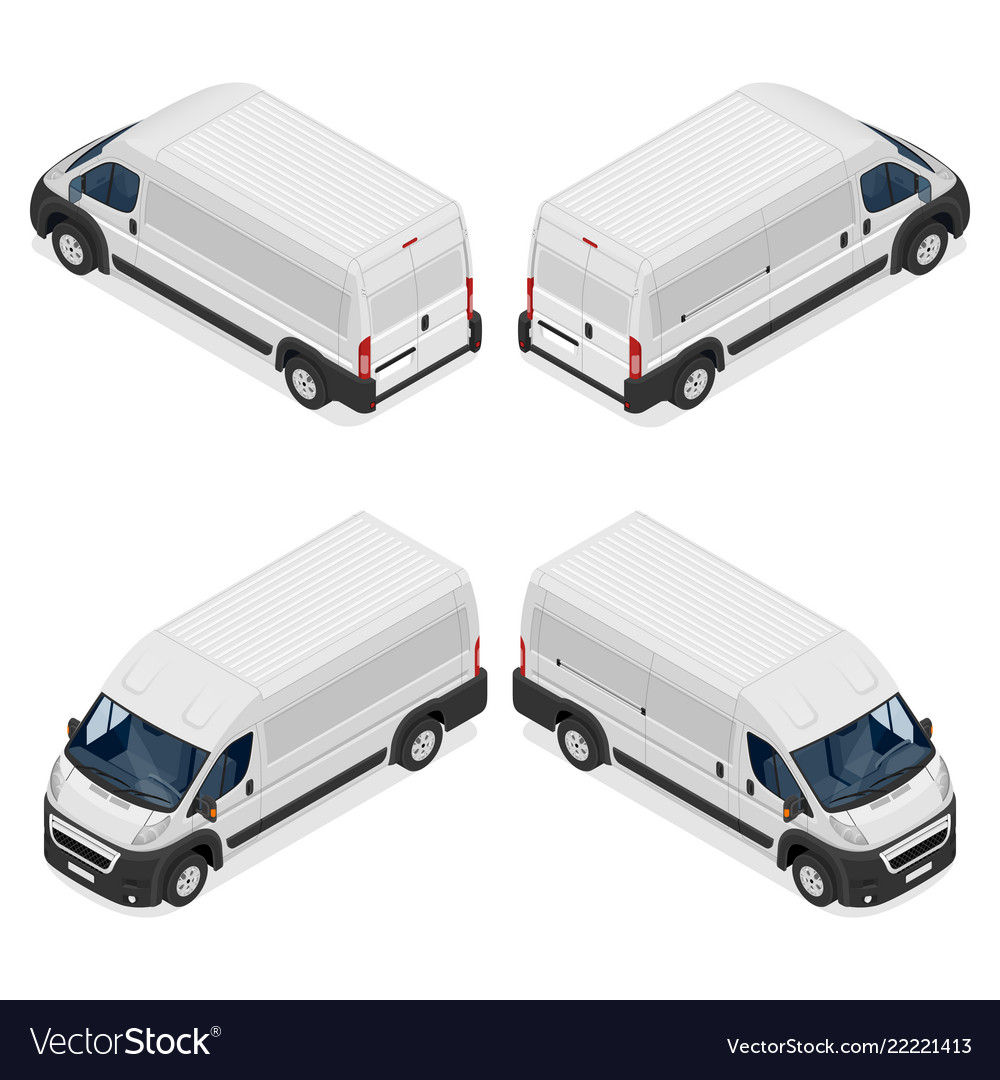 Commercial white van icons set isolated on a white