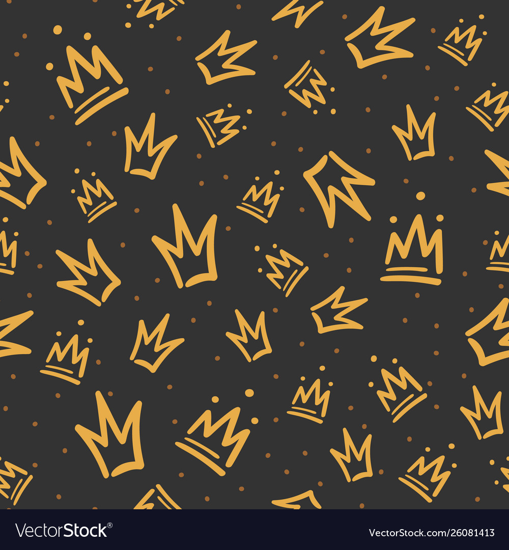 Doodle crowns pattern hand drawn luxury crown vector