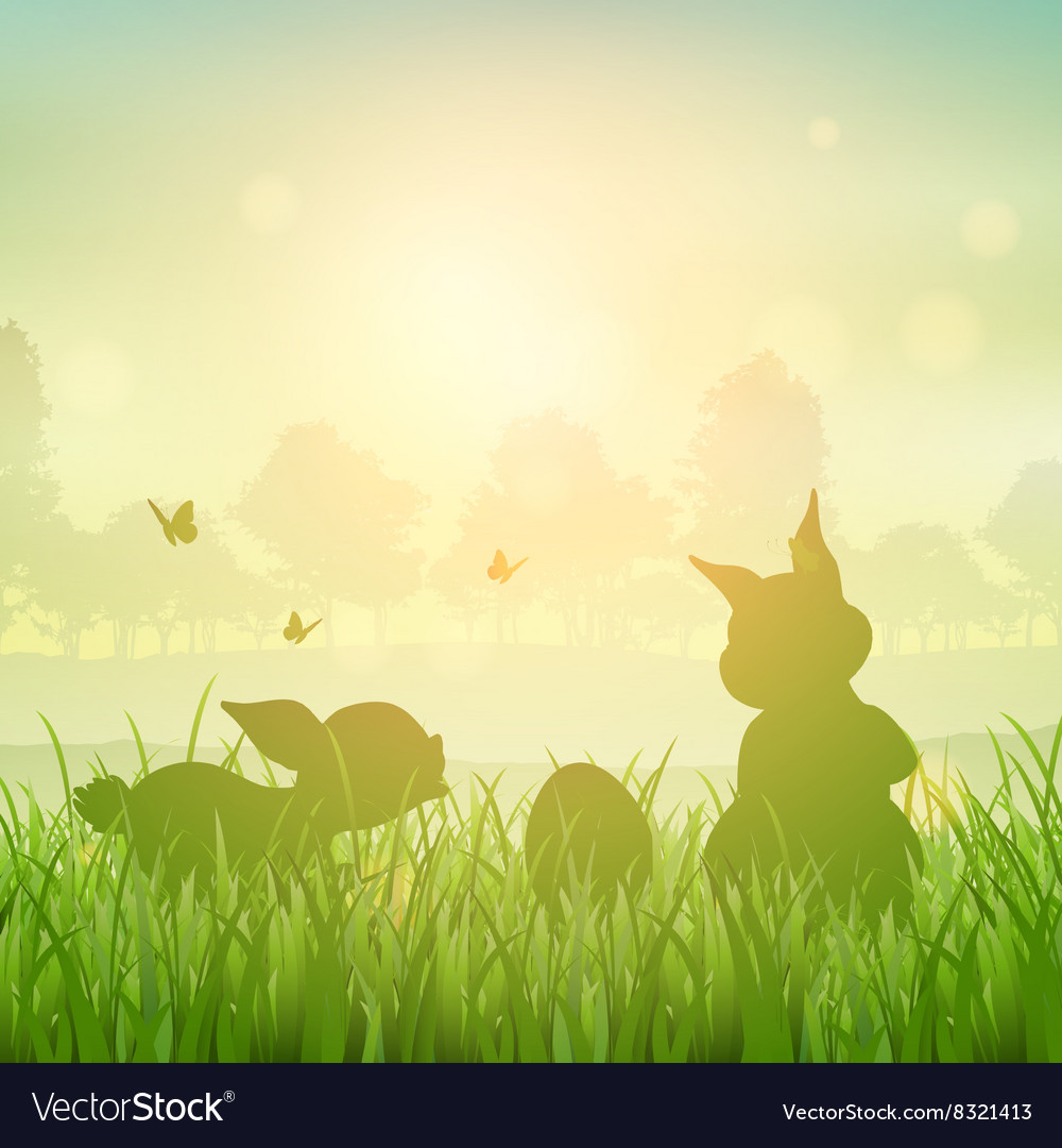 easter bunny landscape royalty free vector image