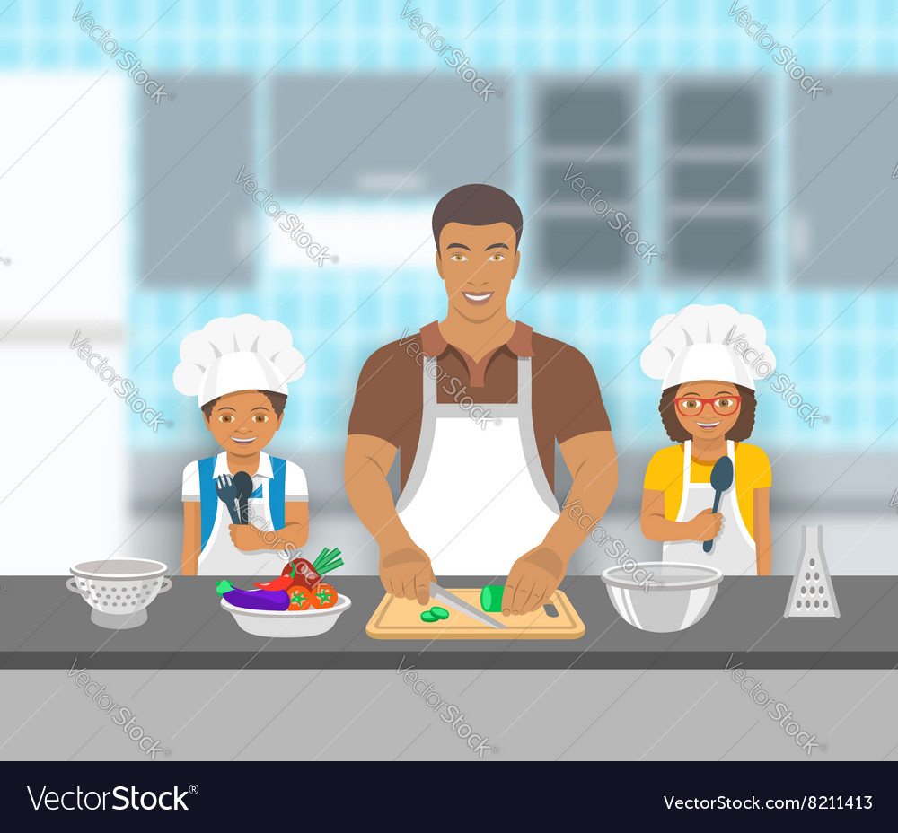 Father and kids cooking together at kitchen flat