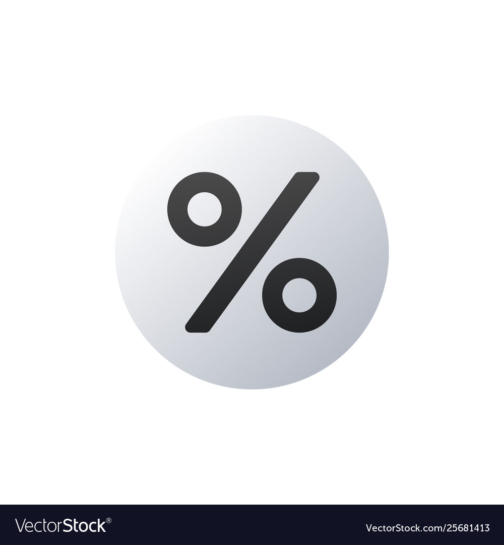 Flat percent icon in circle isolated on white