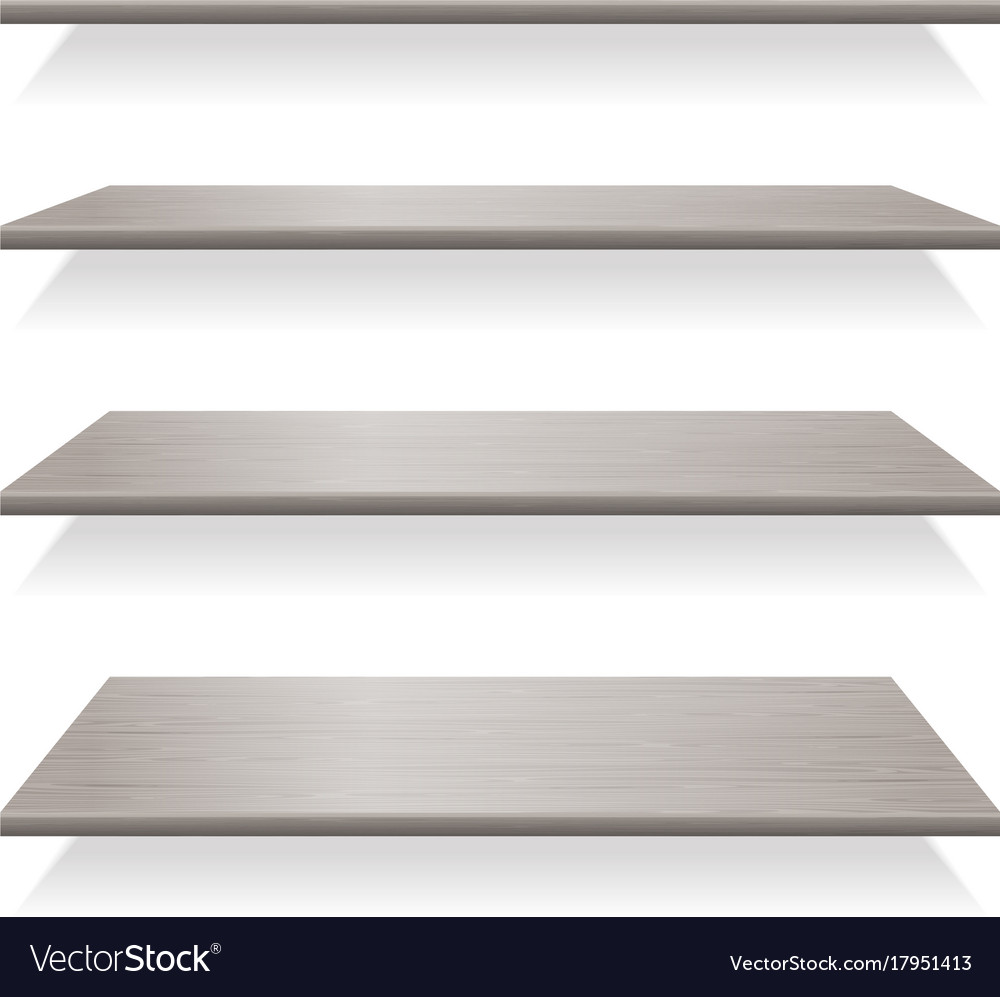 Gray wood shelves with shadows